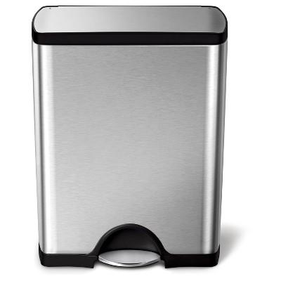 Simplehuman 50 Liter Rectangular Step Trash Can, Fingerprint-Proof Brushed Stainless Steel