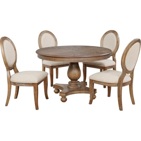 5pc Olivia Round Dining Set Distressed Gray Wash Powell Company Target