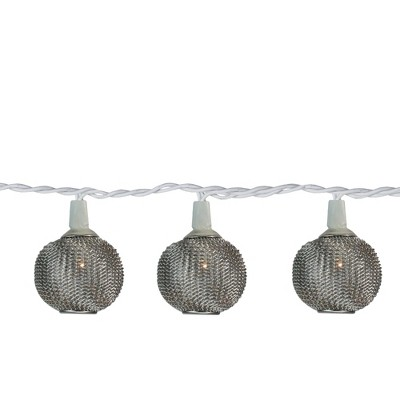 Northlight 10 Battery Operated Silver Mini Patio Lights - 7.5 ft White Wire