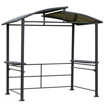 Outsunny 8' x 5' BBQ Patio Canopy Gazebo with Interlaced Polycarbonate Roof 2 Side Shelves & Poles for Hanging Tools