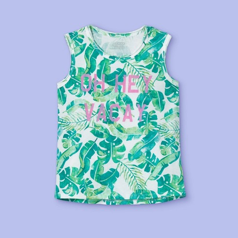 Girls' Graphic Tank Top - More Than Magic™ Green - image 1 of 2
