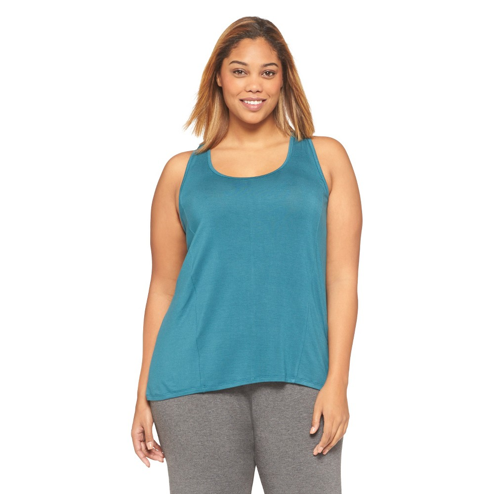 Women's Sleep Tank Top - Botanical Blue, Size: 3XL