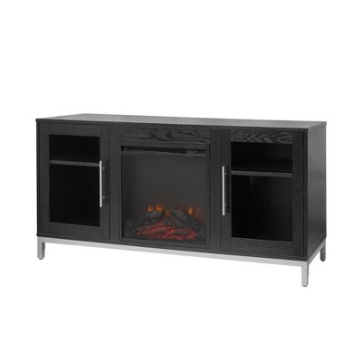 """Lainey Fireplace TV Stand for TVs up to 65"""" Black - Teamson Home"""