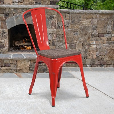 Flash Furniture Metal Stackable Chair with Wood Seat