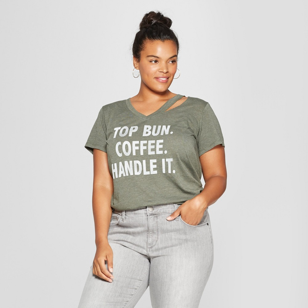 Women's Plus Size Short Sleeve Top Bun Coffee Handle It Graphic T-Shirt - Grayson Threads (Juniors') Olive 1X, Green