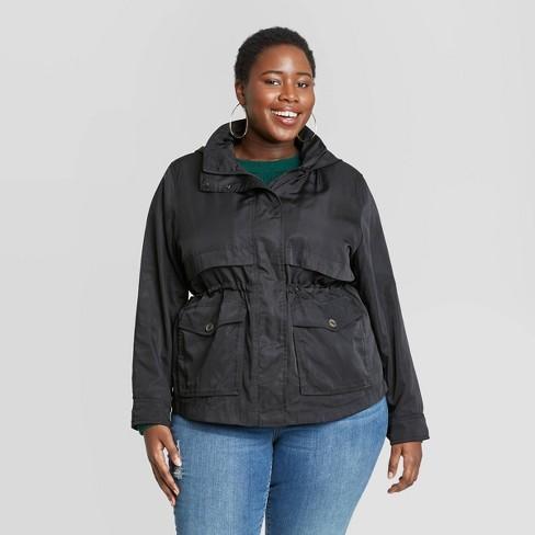 Women's Plus Size Long Sleeve Rain Jacket - Ava & Viv™ - image 1 of 2
