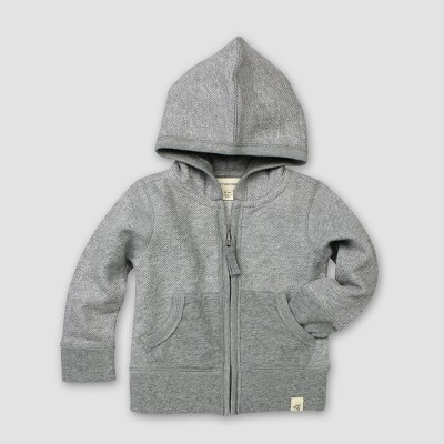 Burt's Bees Baby® Organic Cotton Loose Pique Hoodie - Heather Gray 3-6M
