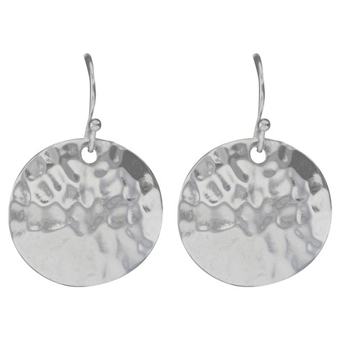 Drop Earrings Plated Brass Hammer Textured Disc on Fishhook Clasp - Silver - image 1 of 1