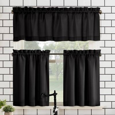Set Of 3 24 X27 Martine Microfiber, Black Valance Curtains