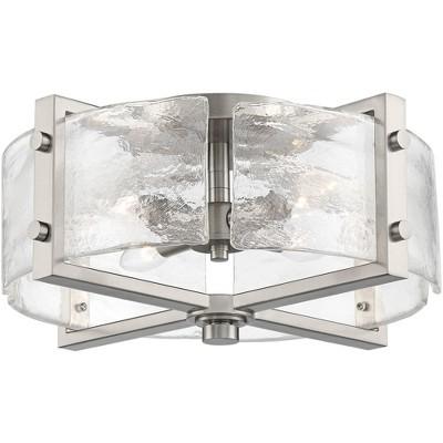 "Possini Euro Design Modern Industrial Ceiling Light Semi Flush Mount Fixture Brushed Nickel 17"" Wide Warped Glass Bedroom Kitchen"