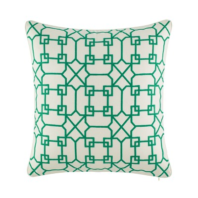 Embroidered Throw Pillow Green - Nine Palms