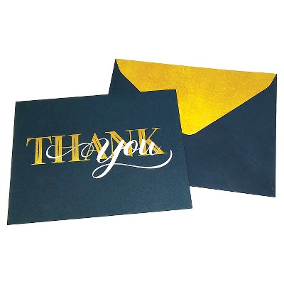 Green Inspired 24ct Gold & Navy Thank You Cards