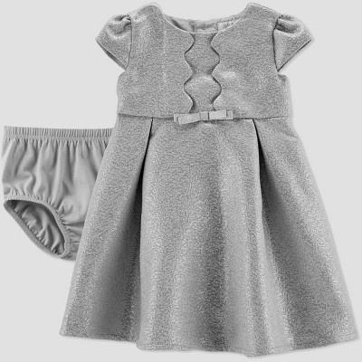 Baby Girls' Glitter Holiday Dressy Dress - Just One You® made by carter's Silver Newborn