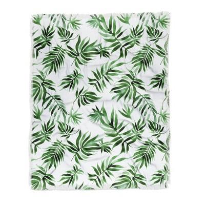Marta Barragan Camarasa Green Leaf Woven Throw Blanket Green - Deny Designs