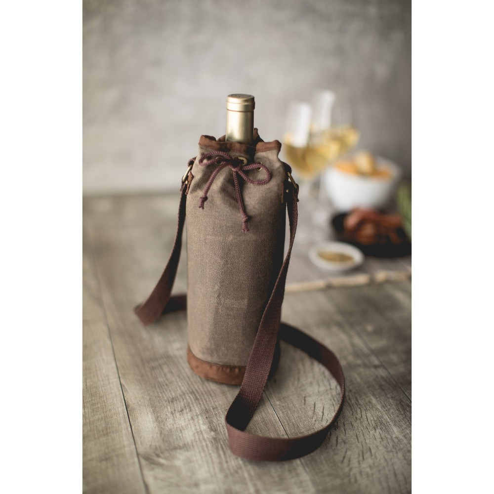 Waxed Canvas Wine Bottle Carrier Green Picnic Time