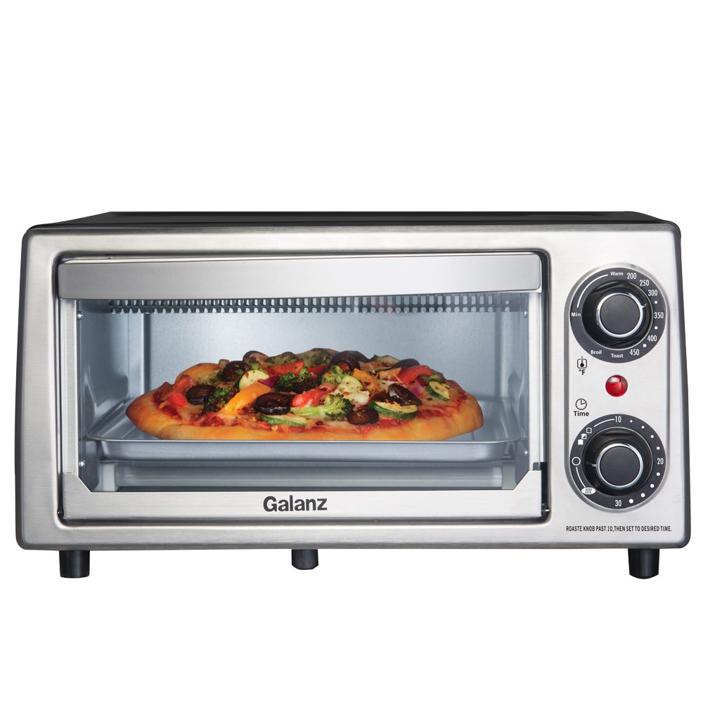 Image of Galanz 4 Slice Toaster Oven - Stainless Steel KWS1010J-V7YE, Silver