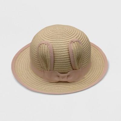 Baby Girls' Unisex Critter Floppy Hats - Cat & Jack™ Beige/Pink 6-12M