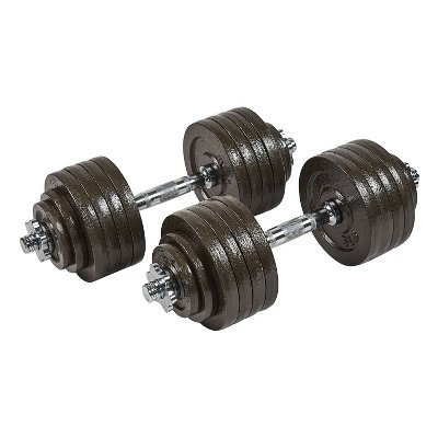 Everyday Essentials 105 Pound Adjustable Free Weight Dumbbell Set w/ Contoured Handle and Cast Iron Plates, Workout Equipment for Home Gym and Office