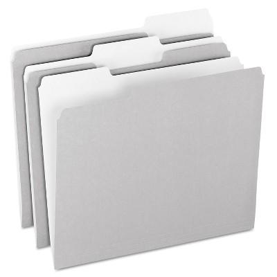 Pendaflex Colored File Folders 1/3 Cut Top Tab Letter Gray/Light Gray 100/Box 15213GRA