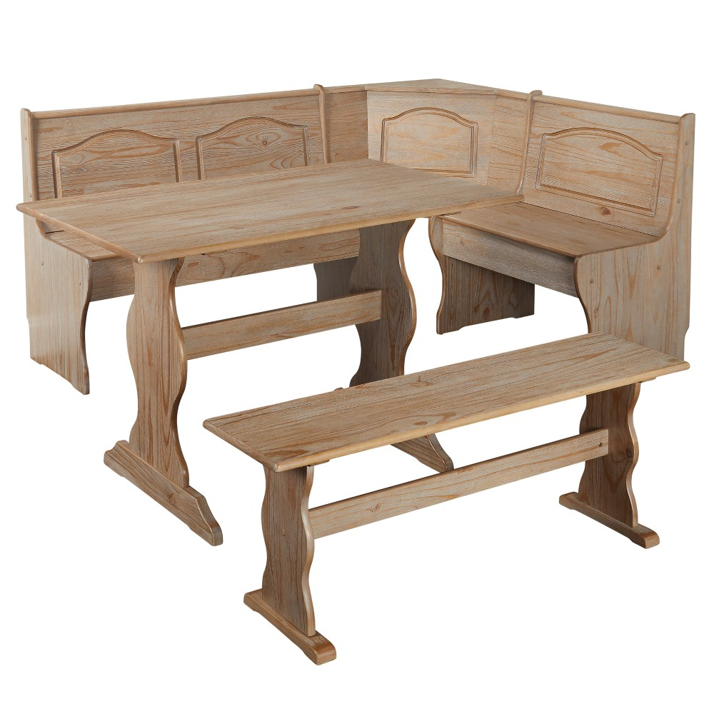 Buylateral Dining Table Set Wood, Rustic Natural