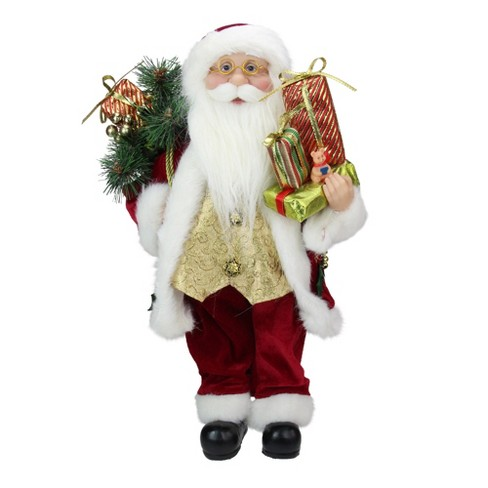 "Northlight 16"" Red and White Traditional Holly Berry Standing Santa Claus Christmas Figure with Gift Bag - image 1 of 4"