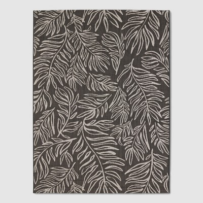 9' x 12' Leaves Outdoor Rug Black - Project 62™