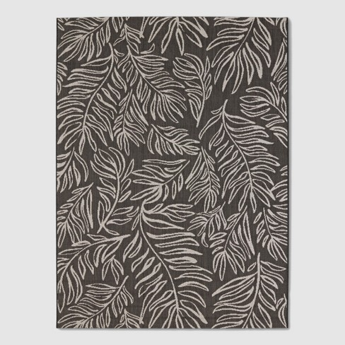 Leaves Outdoor Rug Black - Project 62™ - image 1 of 4