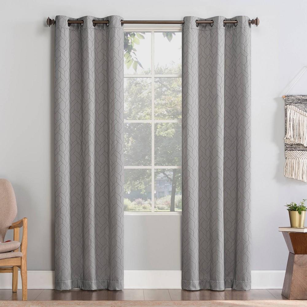 63 34 X40 34 Matias Trellis Draft Shield Fleece Insulated Energy Saving Grommet Top Room Darkening Curtain Panel Silver Gray No 918