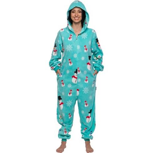 FUNZIEZ! - Holiday Snowman Print Slim Fit Women's Novelty Union Suit - image 1 of 4