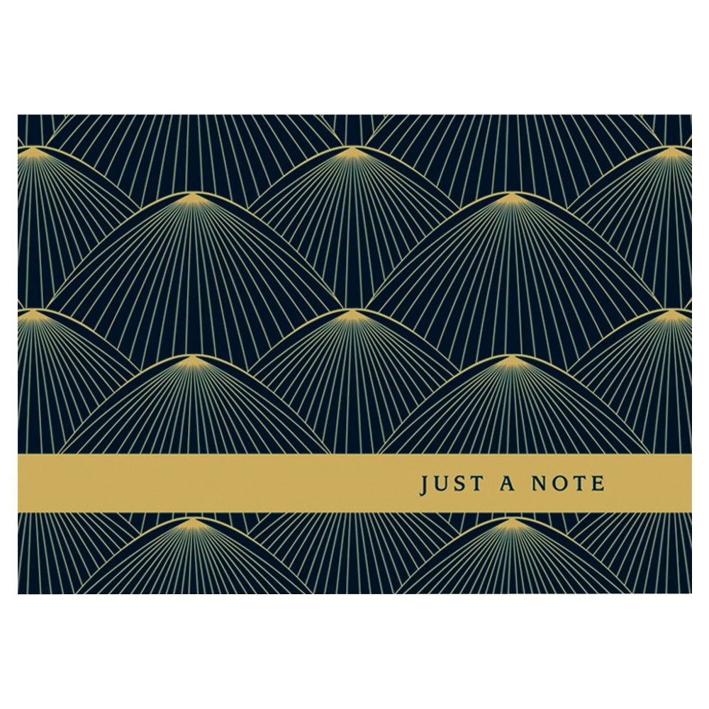 10ct Feather Brush Contemporary Design Notecards, Black