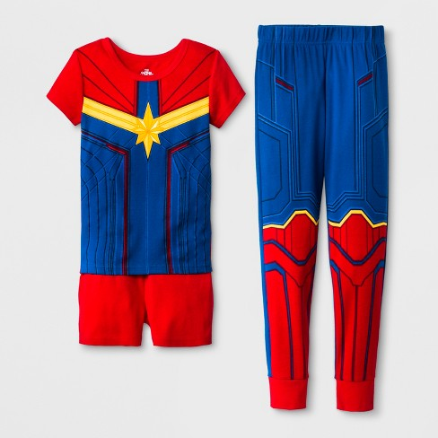 71471e8c8 Girls  Captain Marvel 3pc Pajama Set - Blue Red   Target