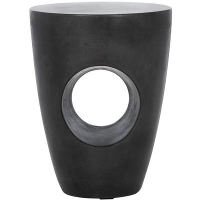 Aishi Indoor/Outdoor Modern Concrete Round Accent Table - Black - Safavieh