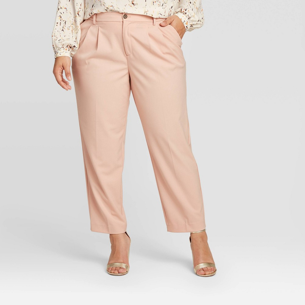 Women's Plus Size Pleat Front Straight Trouser - A New Day Light Pink 24W, Women's was $24.99 now $17.49 (30.0% off)