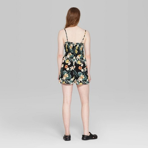 08d0817dd44 Women s Floral Print Strappy Notched Neck Romper - Wild Fable™ Black XL    Target