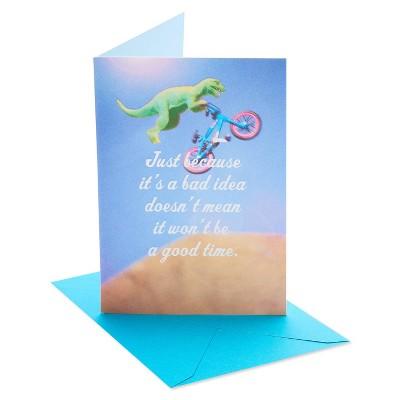 Funny Birthday Card Dinosaur Bike
