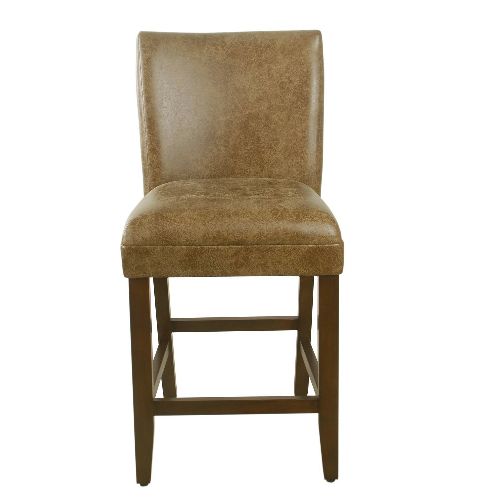 "Image of ""24"""" Luxury Faux Leather Counter stool Faux Leather Distressed Brown - HomePop, Faux Leather Brown"""