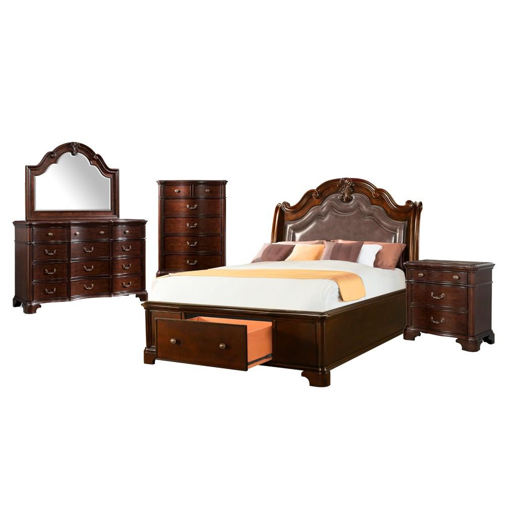 5pc Tomlyn Queen Storage Bedroom Set Dark Cherry - Picket House Furnishings, Beige