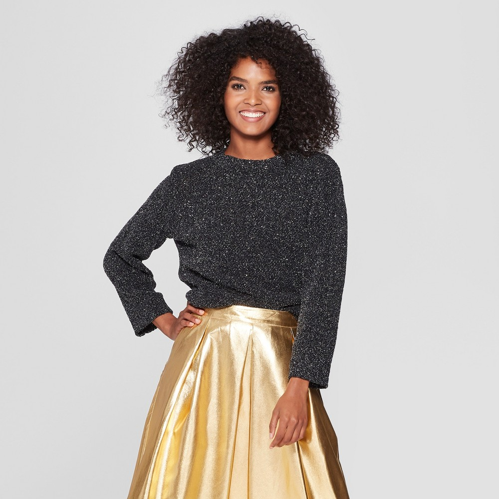 Women's Long Sleeve Crew Neck Tinsel Sweater - Who What Wear Black/Silver XS