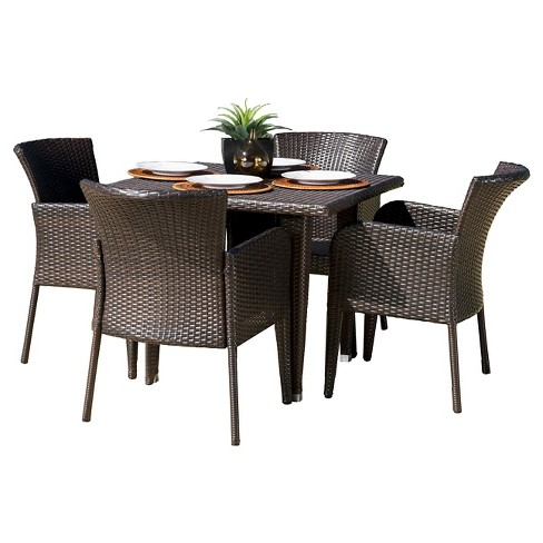 Anaya 5pc Wicker Patio Dining Set - Brown - Christopher Knight Home - image 1 of 4