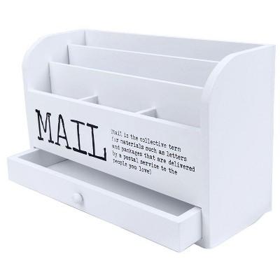 Juvale 3 Tier Wooden Mail Desktop Organizer & Sorter with Storage Drawer Office Supply
