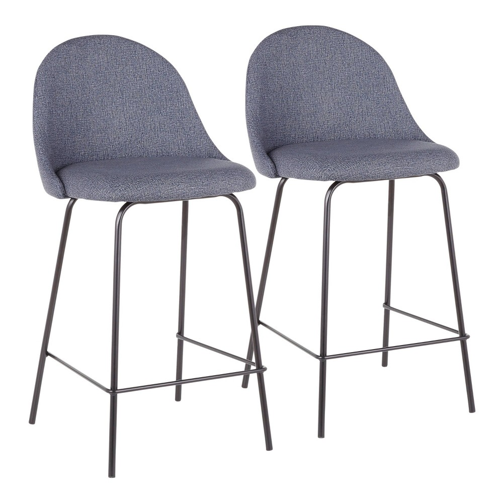 Set of 2 Lana Contemporary Counter Stool Black/Blue - LumiSource