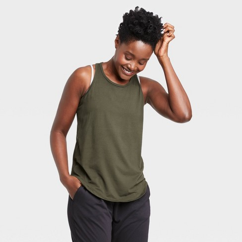 Women's Racerback Essential Tank Top - All in Motion™ Olive Green XS - image 1 of 4