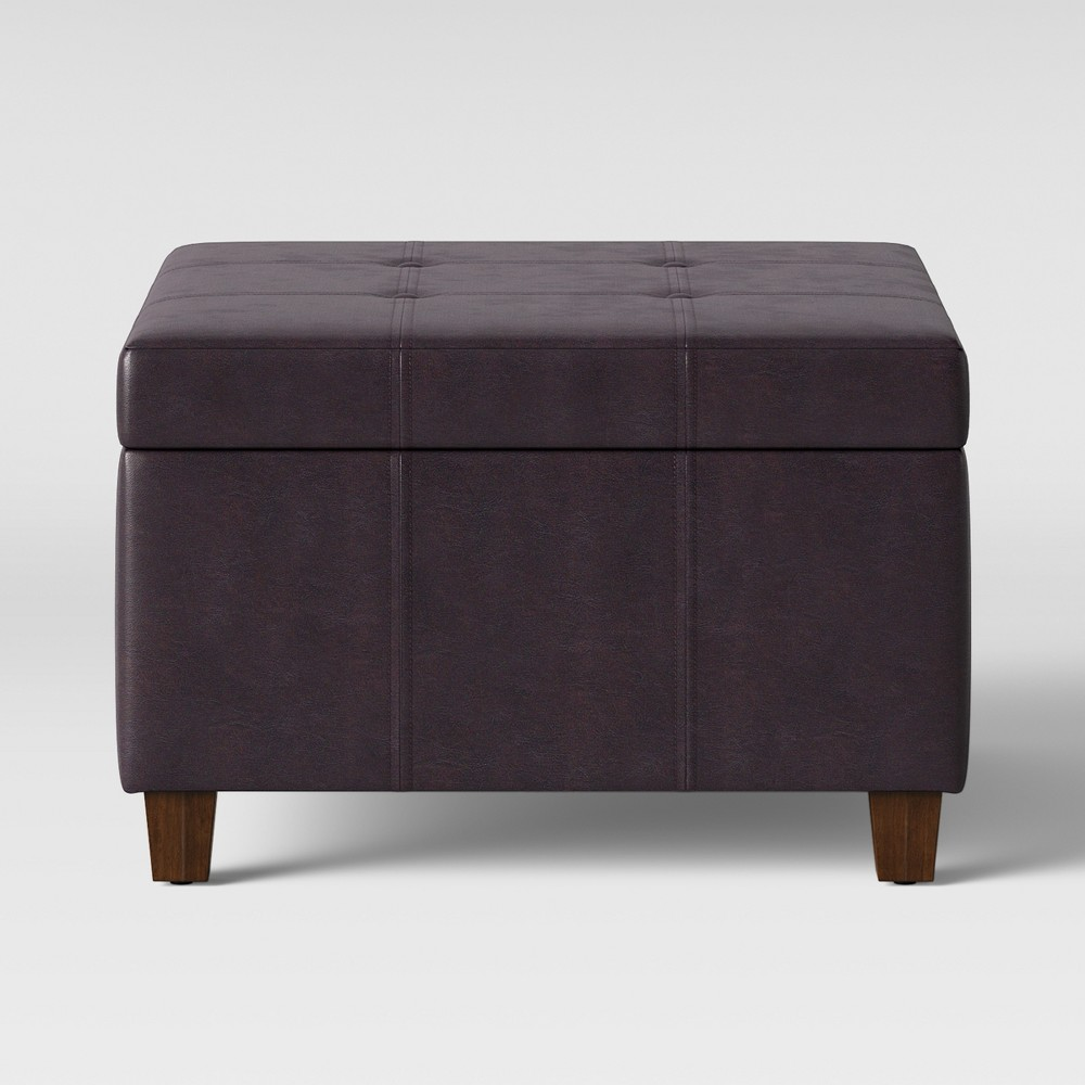 Carver Square Cocktail Ottoman Brown Faux Leather - Threshold