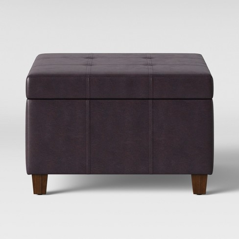 Carver Square Tail Storage Ottoman Brown Faux Leather Threshold
