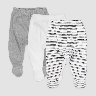 Honest Baby 3pk Sketchy Striped Organic Cotton Footed Harem Pants - Black/White Newborn