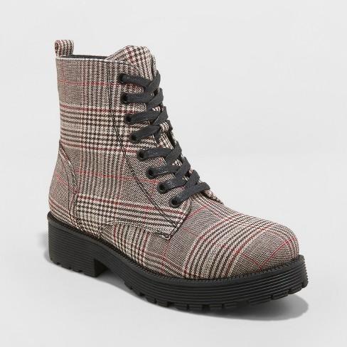 9b1011bc2fdaa Women s Dayton Plaid Combat Boots - Wild Fable™ Gray   Target