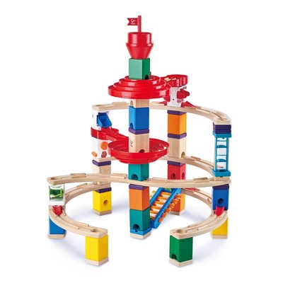 Hape E6024 Quadrilla Super Spirals Multi-Color Wooden Marble Educational Toy Run Construction Building Set for Ages 4 & Up, 101-Piece