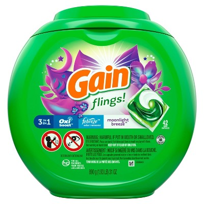 Gain flings! Moonlight Breeze Liquid Laundry Detergent Pacs