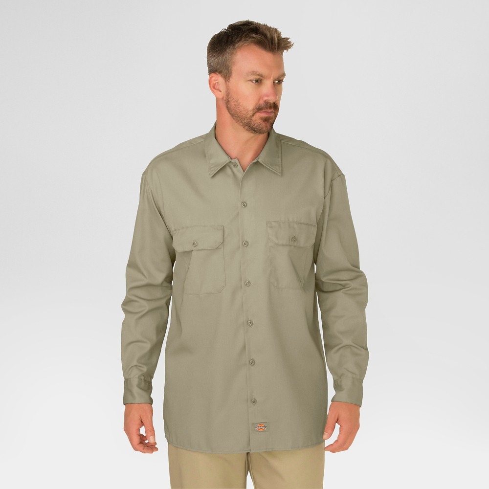 Dickies Men's Big & Tall Original Fit Long Sleeve Twill Work Shirt- Desert Sand Xxxl
