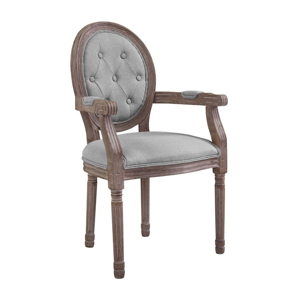 Arise Vintage French Upholstered Fabric Dining Armchair Light Gray - Modway